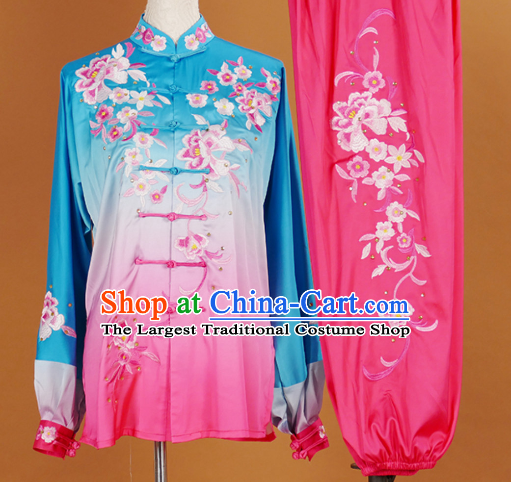Top Embroidered Color Changing Long Sleeves Tai Chi Suits Martial Arts Clothing Kung Fu Dress Wushu Suits Stage Performance Competition Full Set