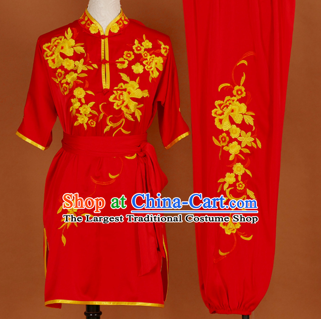 Lucky Red Embroidered Short Sleeves Martial Arts Clothing Kung Fu Dress Wushu Suits Stage Performance Championship Competition Full Set for Girls Women