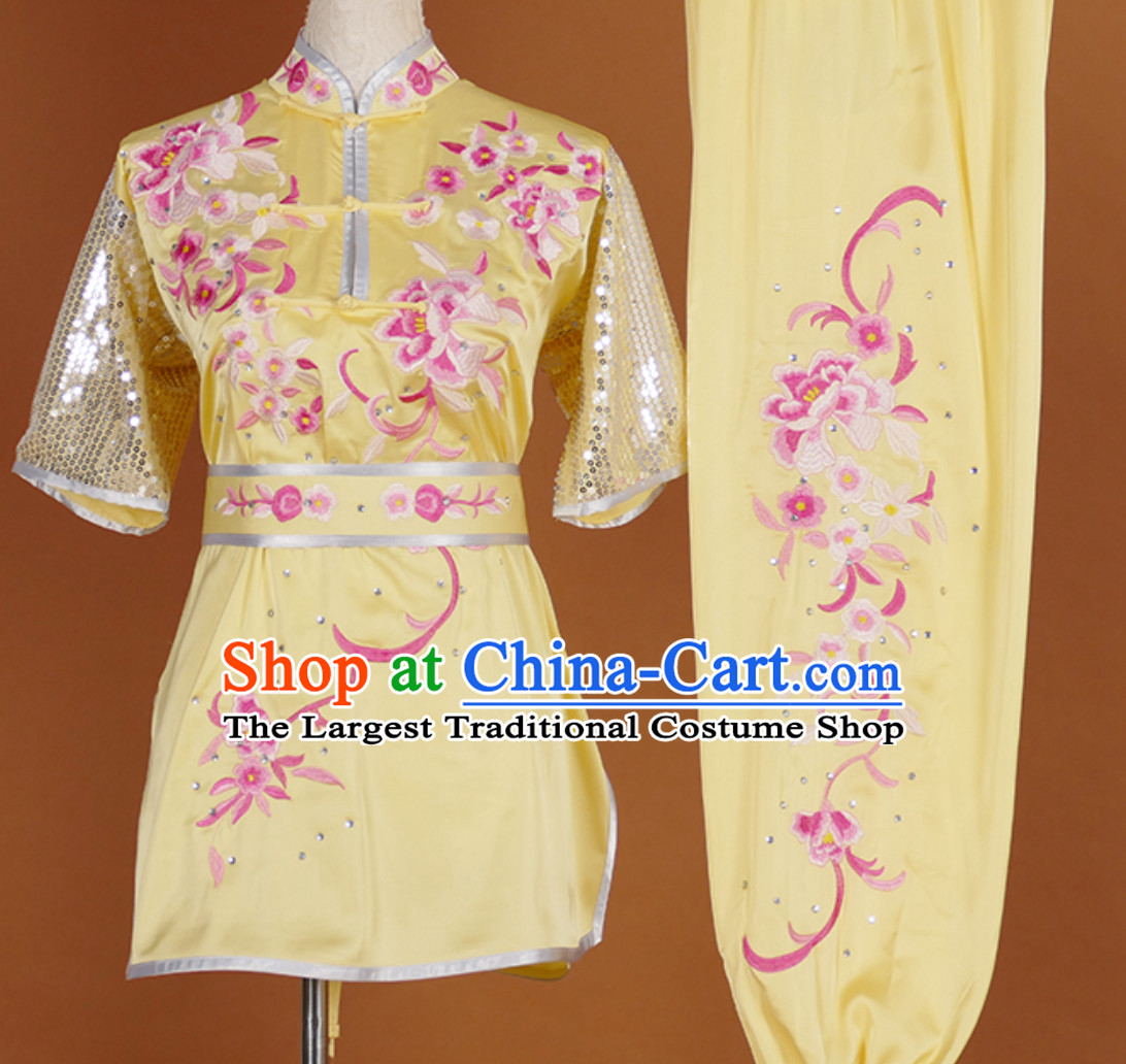 China Classical Embroidered Short Sleeves Martial Arts Clothing Kung Fu Dress Wushu Suits Stage Performance Championship Competition Full Set for Girls Women