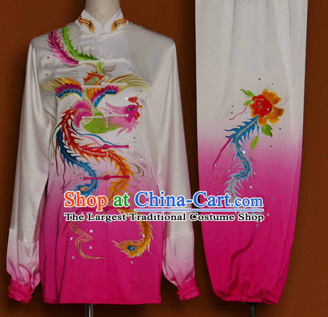 Color Change Phoenix Embroidered Long Sleeves Martial Arts Clothing Kung Fu Dress Wushu Suits Stage Performance Championship Competition Full Set for Girls Women