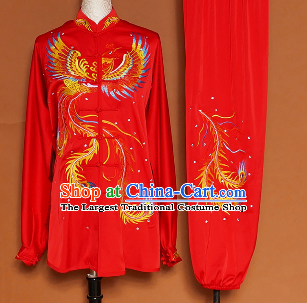 Lucky Red Giant Phoenix Embroidered Long Sleeves Martial Arts Clothing Kung Fu Dress Wushu Suits Stage Performance Championship Competition Dresses Full Set for Girls Women