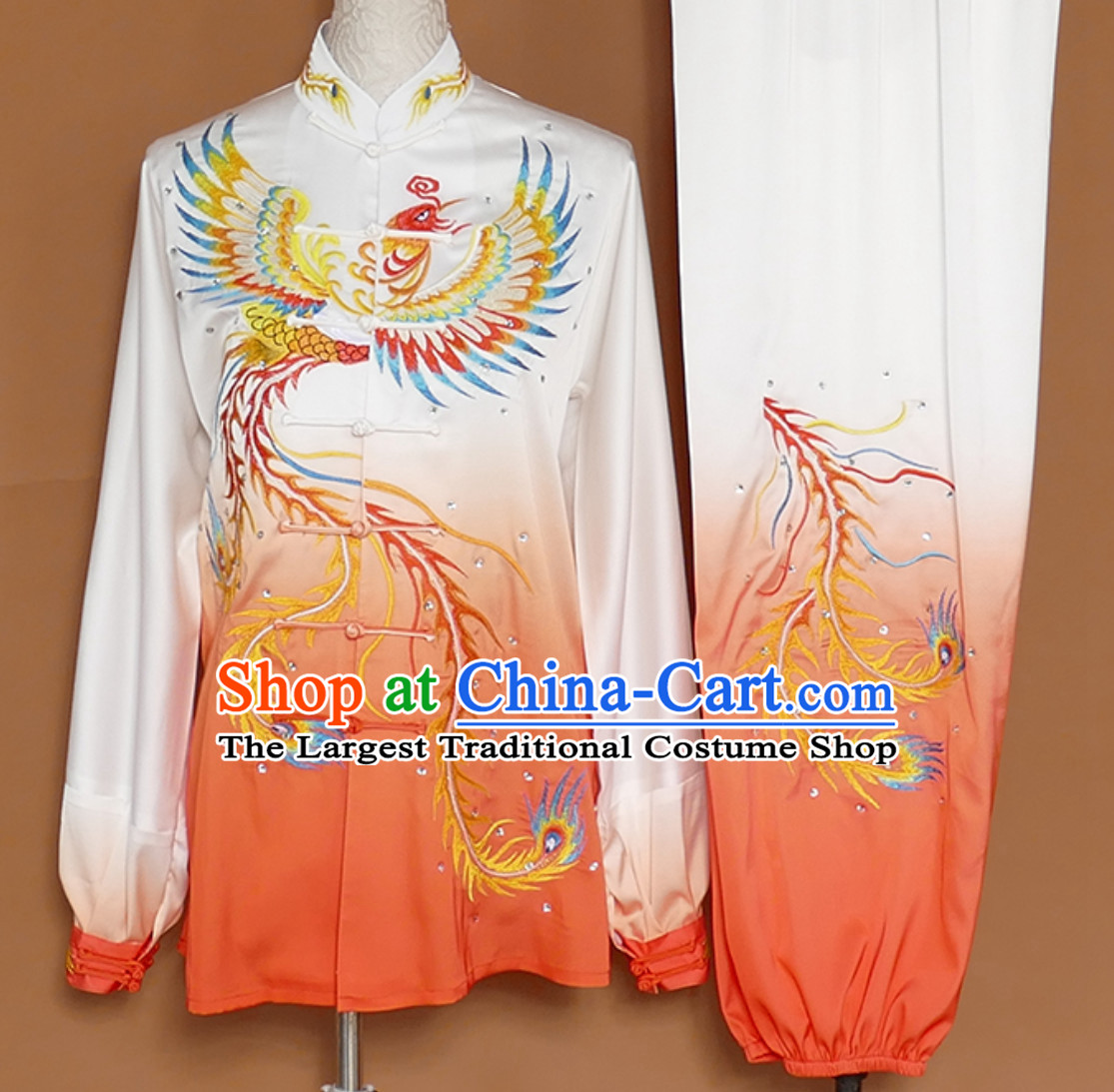Classical Giant Phoenix Embroidered Long Sleeves Martial Arts Clothing Kung Fu Dress Wushu Suits Stage Performance Championship Competition Dresses Full Set for Girls Women