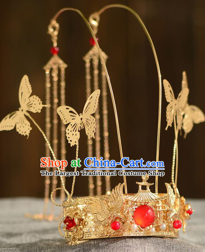 Chinese Ancient Tang Dynasty Princess Golden Phoenix Coronet Hairpins Traditional Hanfu Court Hair Accessories for Women