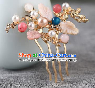 Chinese Ancient Ming Dynasty Princess Leaf Hair Comb Hairpins Traditional Hanfu Court Hair Accessories for Women