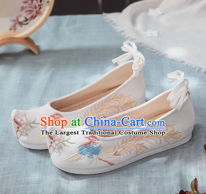 Traditional Chinese Opera Shoes Ancient Princess White Shoes Hanfu Shoes Embroidered Phoenix Shoes for Women