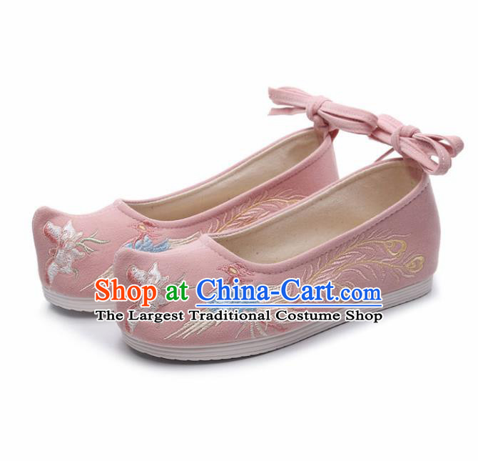 Traditional Chinese Opera Shoes Ancient Princess Pink Shoes Hanfu Shoes Embroidered Phoenix Shoes for Women