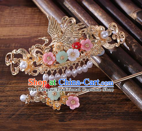 Chinese Ancient Tang Dynasty Princess Crane Hair Crown Hairpins Traditional Hanfu Court Hair Accessories for Women