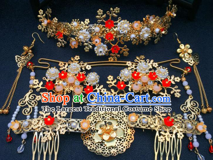 Chinese Ancient Ming Dynasty Princess Hair Combs Hairpins Traditional Hanfu Court Hair Accessories for Women