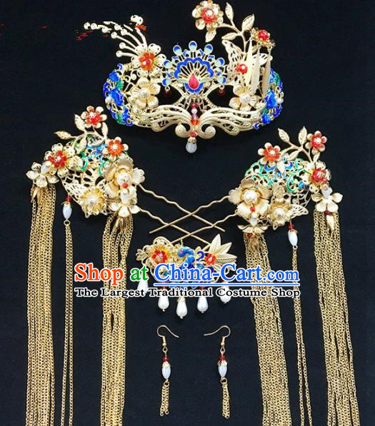 Chinese Ancient Qing Dynasty Phoenix Coronet Hairpins Traditional Hanfu Court Princess Hair Accessories for Women