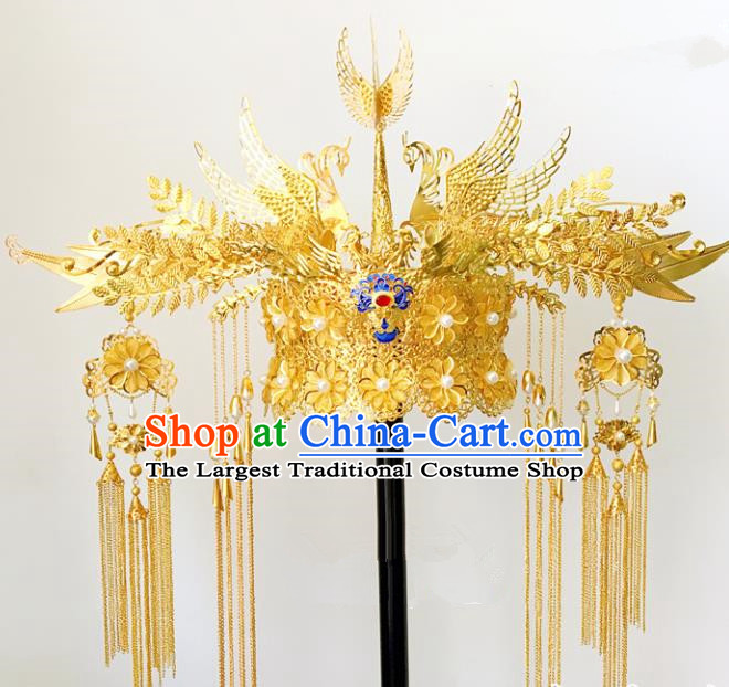 Chinese Ancient Ming Dynasty Golden Phoenix Coronet Hairpins Traditional Hanfu Court Princess Hair Accessories for Women