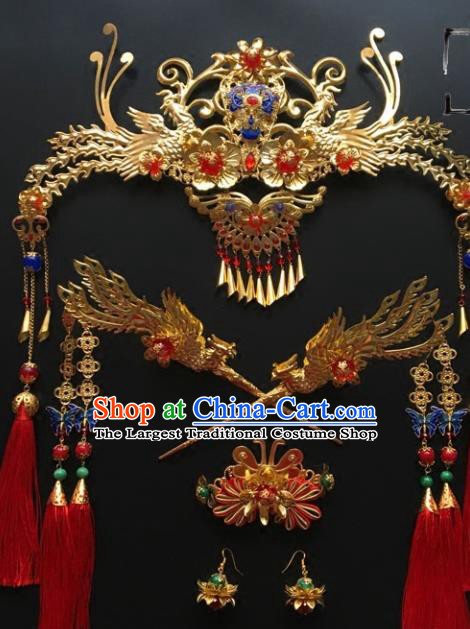 Chinese Ancient Ming Dynasty Bride Phoenix Coronet Hairpins Traditional Hanfu Court Princess Hair Accessories for Women