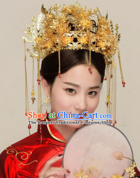Chinese Ancient Bride Phoenix Coronet Hairpins Traditional Hanfu Court Princess Hair Accessories for Women