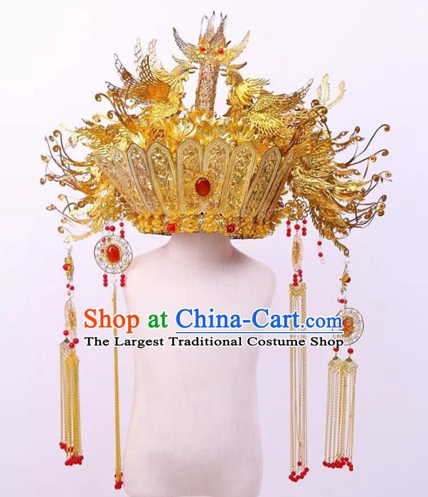 Chinese Ancient Bride Luxury Phoenix Coronet Hairpins Traditional Hanfu Court Princess Hair Accessories for Women