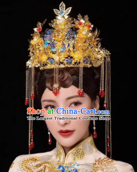 Chinese Ancient Bride Cloisonne Phoenix Coronet Hairpins Traditional Hanfu Court Princess Hair Accessories for Women
