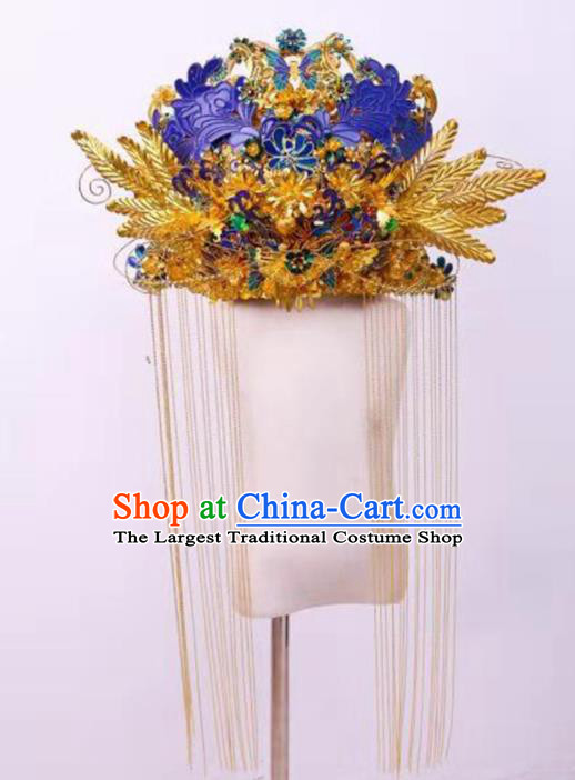 Chinese Ancient Bride Cloisonne Butterfly Phoenix Coronet Hairpins Traditional Hanfu Court Princess Hair Accessories for Women