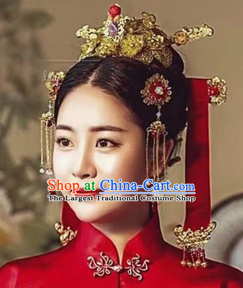 Chinese Ancient Han Dynasty Bride Phoenix Coronet Hairpins Traditional Hanfu Court Princess Hair Accessories for Women
