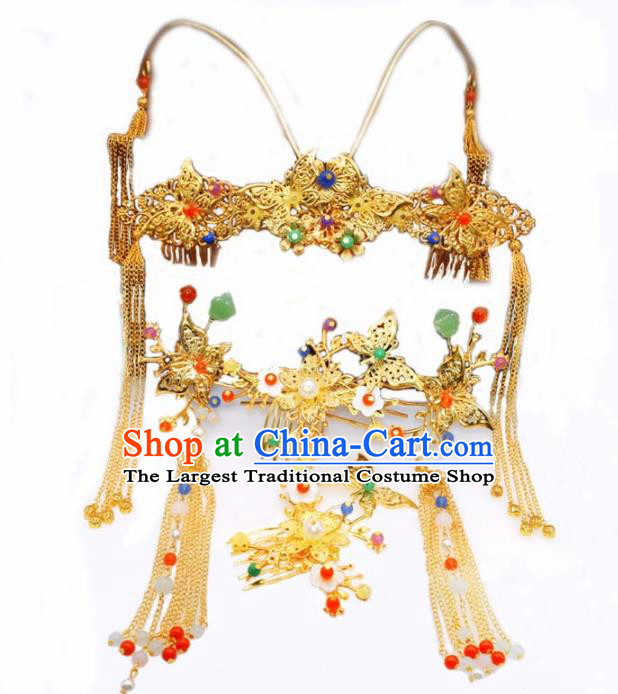 Chinese Ancient Tang Dynasty Bride Phoenix Coronet Hairpins Traditional Hanfu Court Princess Hair Accessories for Women