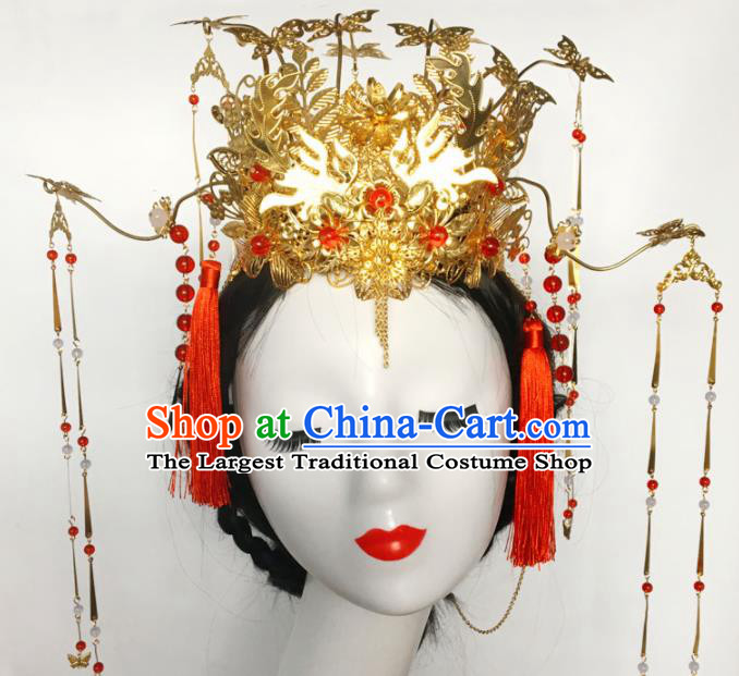 Chinese Ancient Tang Dynasty Phoenix Coronet Hairpins Traditional Hanfu Court Princess Hair Accessories for Women