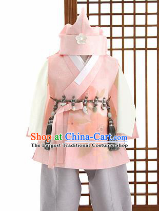Traditional Korean Pink Hanbok Clothing Asian Korea Boys Fashion Apparel Hanbok Costume and Waistband for Kids
