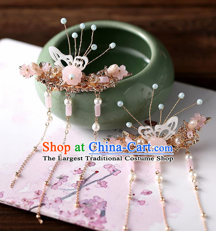 Chinese Ancient Ming Dynasty Princess Butterfly Hair Claws Hairpins Traditional Hanfu Court Hair Accessories for Women