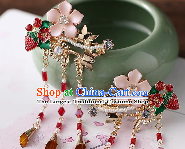 Chinese Ancient Ming Dynasty Princess Strawberry Hair Claws Hairpins Traditional Hanfu Court Hair Accessories for Women