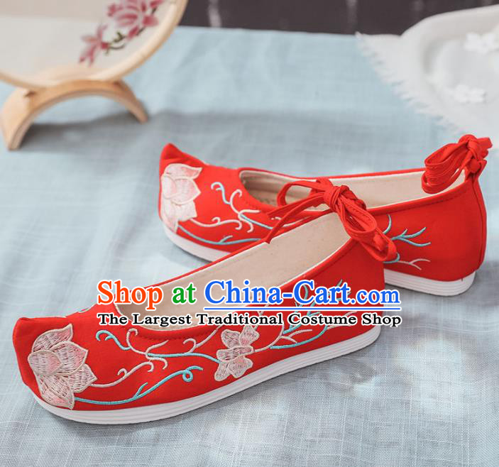 Traditional Chinese Wedding Shoes Opera Shoes Ancient Princess Shoes Hanfu Shoes Red Embroidered Shoes for Women