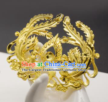 Chinese Ancient Ming Dynasty Queen Golden Phoenix Hairpins Traditional Hanfu Court Hair Accessories for Women