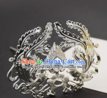 Chinese Ancient Ming Dynasty Queen Argent Phoenix Hairpins Traditional Hanfu Court Hair Accessories for Women