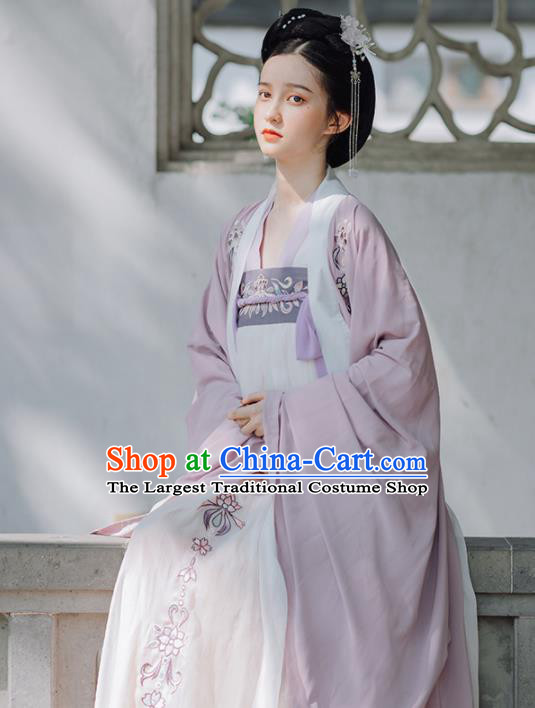 Traditional Chinese Tang Dynasty Imperial Concubine Replica Costumes Ancient Court Princess Purple Hanfu Dress for Women
