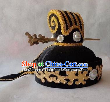Chinese Traditional Handmade Qin Dynasty Hat Ancient Drama Minister Headwear for Men