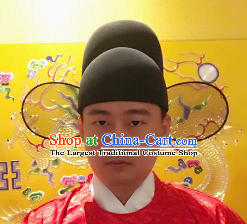 Chinese Traditional Handmade Ming Dynasty Minister Black Hat Ancient Drama Magistrate Headwear for Men