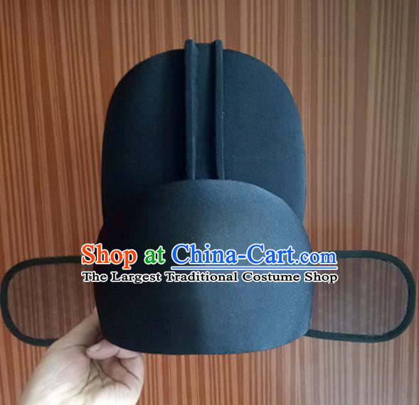 Chinese Traditional Handmade Ming Dynasty Minister Black Hat Ancient Drama Officer Headwear for Men