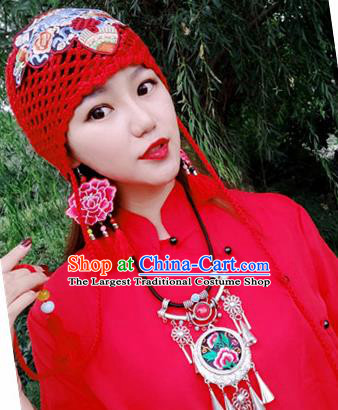 Chinese Traditional Ethnic Embroidered Hat National Handmade Red Wool Knitting Hat for Women