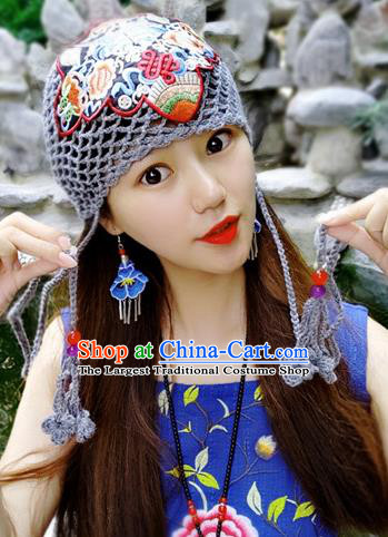 Chinese Traditional Ethnic Embroidered Hat National Handmade Grey Wool Knitting Hat for Women