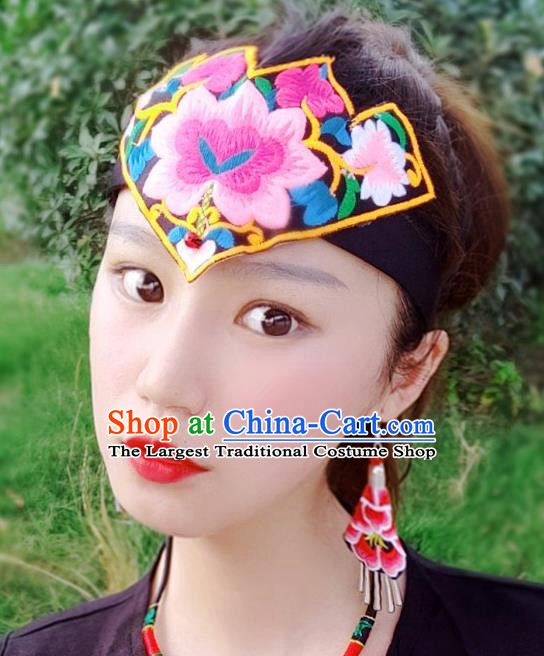 Chinese Traditional Ethnic Embroidered Peony Headband National Handmade Hair Clasp for Women