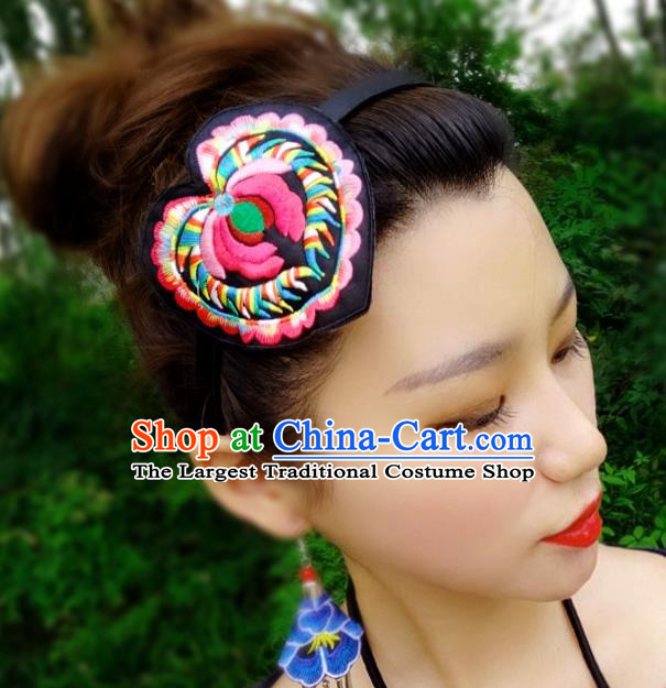Chinese Traditional Ethnic Embroidered Lotus Headband National Handmade Hair Clasp for Women