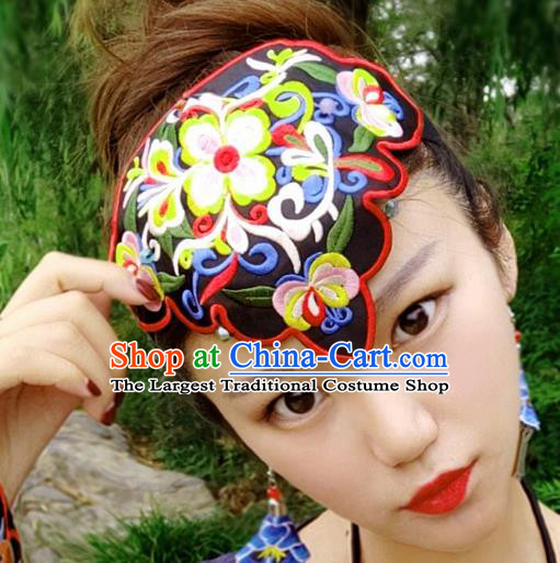 Chinese Traditional Ethnic Embroidered Flowers Headband National Handmade Hair Clasp for Women