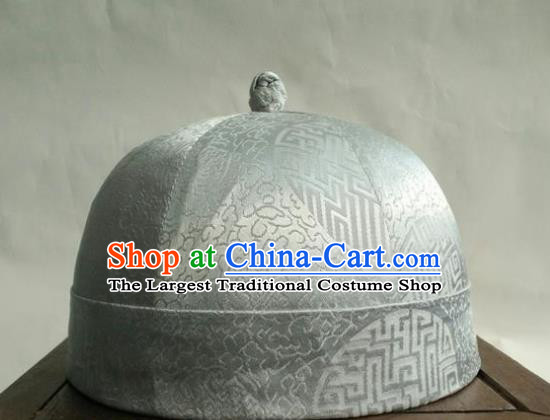 Chinese Traditional Handmade Qing Dynasty Prince White Hat Ancient Drama Nobility Childe Headwear for Men