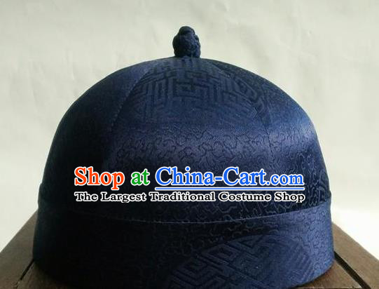 Chinese Traditional Handmade Qing Dynasty Prince Deep Blue Hat Ancient Drama Nobility Childe Headwear for Men