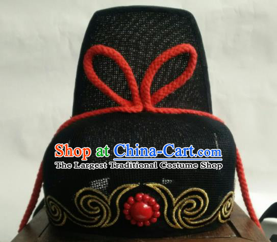 Chinese Traditional Handmade Song Dynasty Imperial Bodyguard Zhan Zhao Hat Ancient Drama Swordsman Headwear for Men