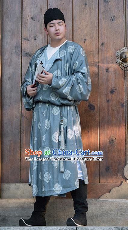 Traditional Chinese Tang Dynasty Merchant Replica Costumes Ancient Male Civilian Grey Robe for Men
