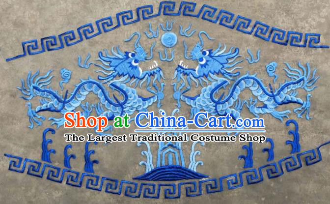 Chinese Traditional National Embroidered Blue Dragons Applique Dress Patch Embroidery Cloth Accessories