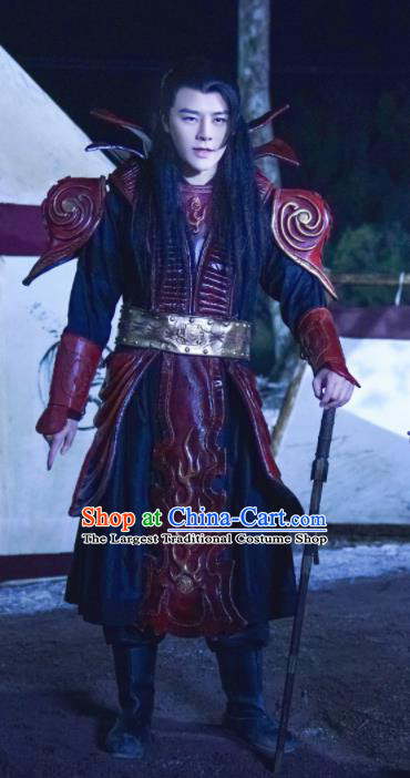 Drama Jia Feng Xu Huang Chinese Ancient General Su Yu Costumes Traditional Tang Dynasty Prince Body Armor Clothing for Men