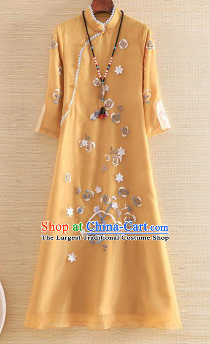 Chinese Traditional Tang Suit Embroidered Yellow Organza Cheongsam National Costume Qipao Dress for Women