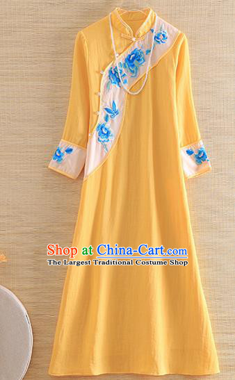 Chinese Traditional Tang Suit Embroidered Peony Yellow Cheongsam National Costume Qipao Dress for Women