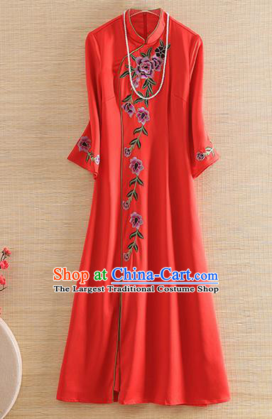 Chinese Traditional Tang Suit Embroidered Peony Red Cheongsam National Costume Qipao Dress for Women