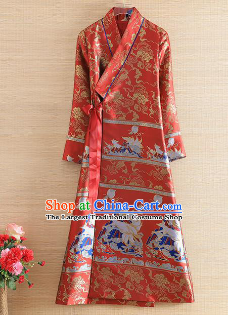Chinese Traditional Tang Suit Red Brocade Cheongsam National Costume Qipao Dress for Women