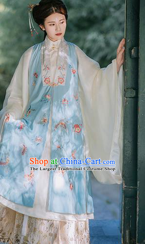 Traditional Chinese Ming Dynasty Court Lady Historical Costumes Blue Vest Ancient Palace Princess Hanfu Dress for Women