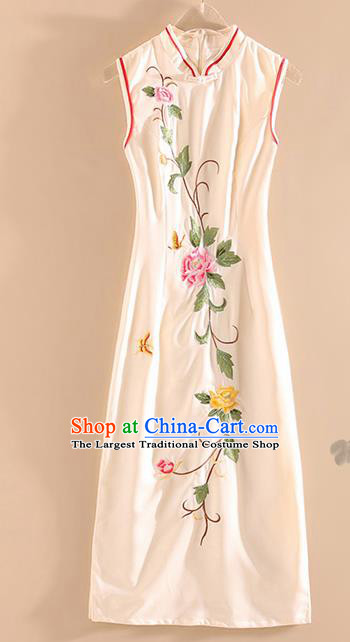 Chinese Traditional Tang Suit Embroidered Peony White Silk Cheongsam National Costume Qipao Dress for Women