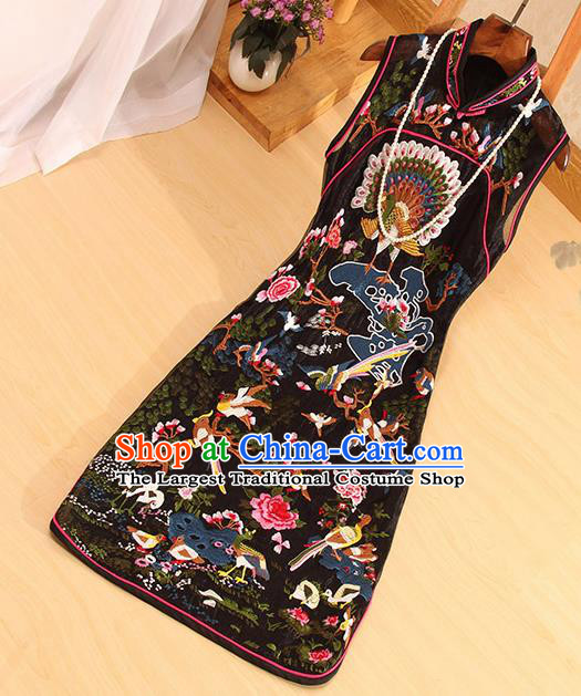 Traditional Chinese National Embroidered Peacock Birds Black Qipao Dress Tang Suit Cheongsam Costume for Women